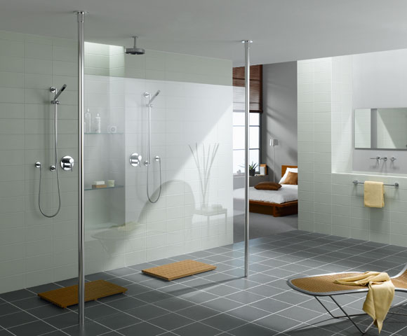 Minimalistic-bathroom-design-with-twin-shower-and-niched-sink-with-mirror